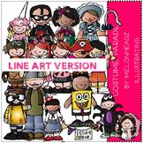 Costume Parade clip art - LINE ART- by Melonheadz