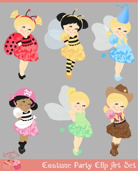 Costume Party Witch Fairy Tinkerbell Ladybug Bee Pirate Cowgirl clipart