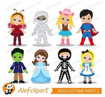 Costume Party Digital clipart / Kids Costume clip art  2