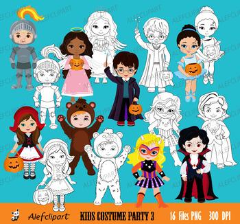 Costume Party Digital clipart / Kids Costume clip art / part 3