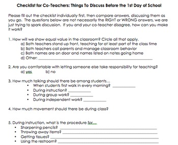 Coteaching Checklist for Inclusion Classrooms