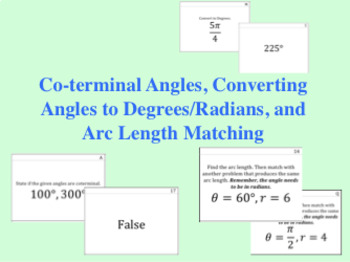 Coterminal Angles, Converting Angles, and Arc Length Matching