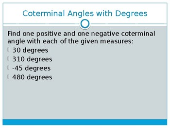 Coterminal and Reference Angles