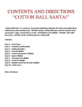 Cotton Ball Santa - Six Types of Syllables