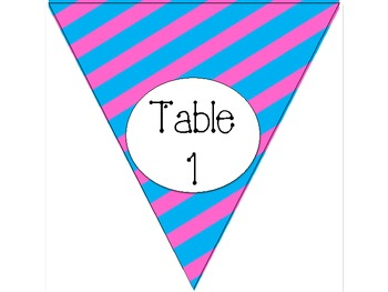 Cotton Candy Blue and Pink Stripe Table Numbers