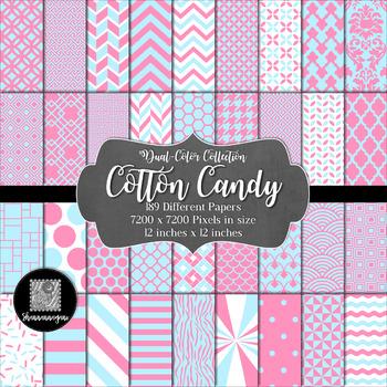 12x12 Digital Paper - Color Scheme Collection: Cotton Candy (600dpi)