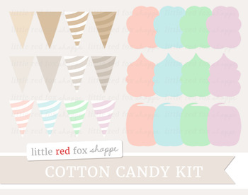 Cotton Candy Kit Clipart; Carnival, Circus, Dessert