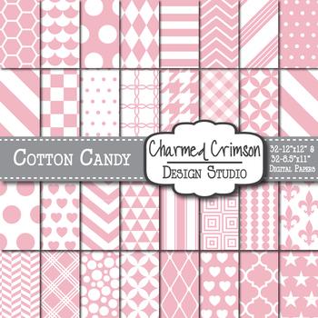 Cotton Candy Pink Geometric Basic Digital Paper 1135