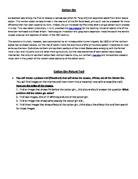 Cotton Gin Picture Trail Activity - for use with Tablet