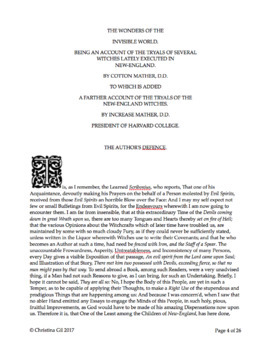 Cotton Mather on Salem Witch Trials | Puritan Primary Source Non Fiction