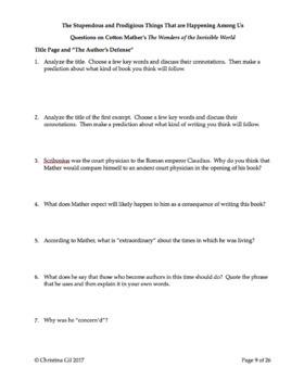 Salem Witch Trials | Puritan Primary Source Non Fiction | Cotton Mather