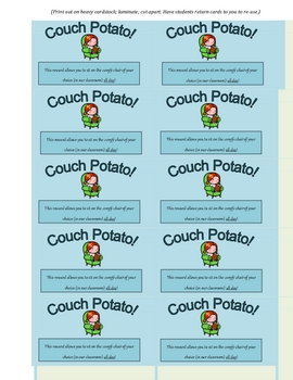 Couch Potato! Reward Card for Students (Great Incentive!)