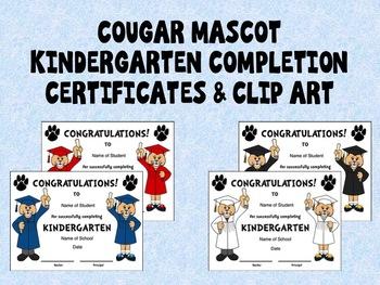 Cougar Mascot Kindergarten Completion Certificates and Clip Art in School Colors