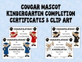 Cougar Mascot Kindergarten Completion Certificates and Clip Art in School Colors