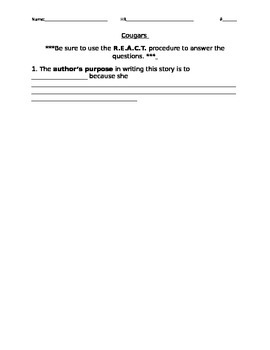 Cougars Comprehesion Questions Houghton Mifflin Journeys