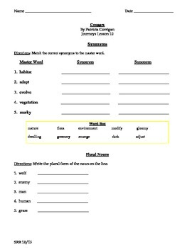 Journeys Common Core 5th - Cougars Supplemental Packet for SLP's