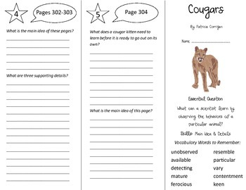 Cougars Trifold - Journeys 5th Grade Unit 2 Week 5 (2014, 2017 Common Core)