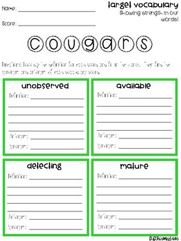 Cougars Vocabulary Grids