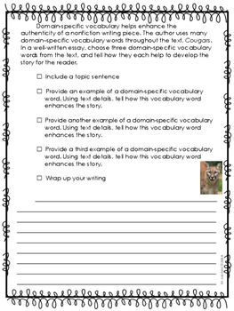 Cougars--Writing Prompt-Journeys Grade 5--Lesson 10