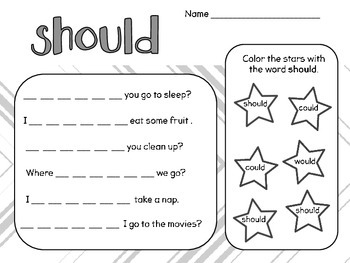 Could, Would, Should, Good! Practice Sheet