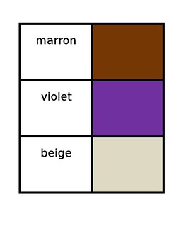 Couleurs (Colors in French) Concentration games