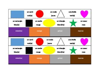 Couleurs et Formes (Colors and Shapes in French) Desk strips