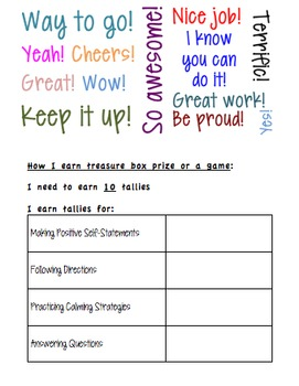 Counseling Behavior Chart Too