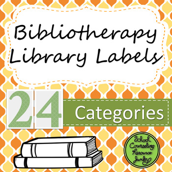 Bibliotherapy Counseling Bookshelf Library Labels: Orange & Yellow
