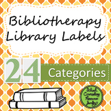 Bibliotherapy Counseling Bookshelf Library Labels: Orange