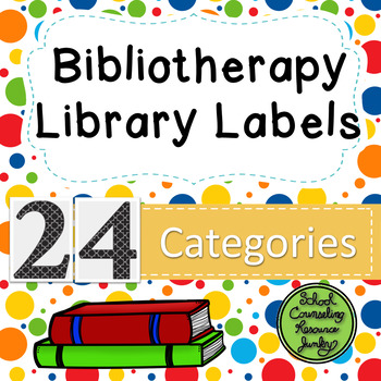 Bibliotherapy Counseling Bookshelf Library Labels Multi Color Polka Dots