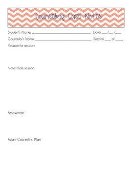 Counseling Case Notes Template