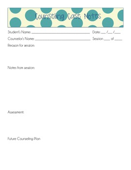 Counseling Case Notes Template - Polka Dot