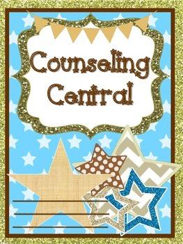 "Counseling Central Binder Set ""Shiny"" {Gold Glitter Star Set}"