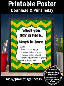 Green Yellow Chevron School Counselor Confidentiality Sign Large 8x10 16x20