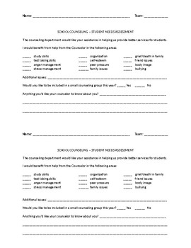 Counseling Department - Student Needs Assessment (yearly)