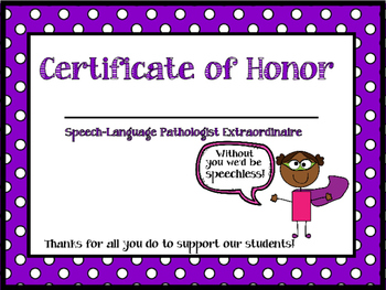Counseling From the Heart  Speech-Language Pathologist Certificate of Honor