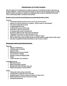 Counseling - Identification of At-Risk Students - Handout for Faculty