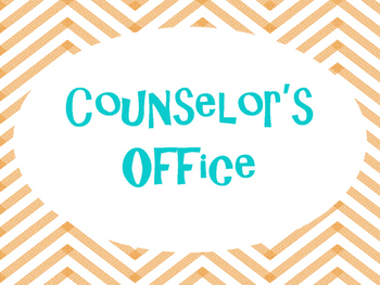 Counseling Office Signs: Orange and Turquoise