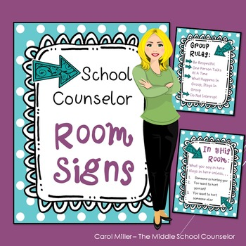 Counseling Office Signs Teal Dots