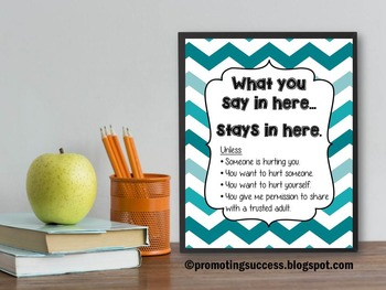 Counseling Poster with Teal Chevron and Confidentiality Rules