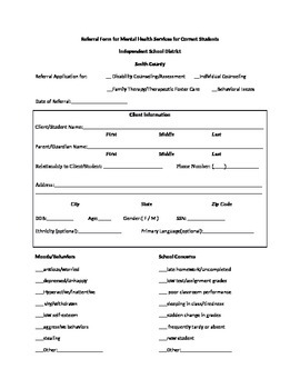 Counseling Referral Form - Editable