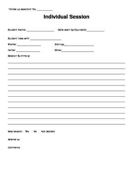 Counseling Referral Form and Individual Counseling Notes