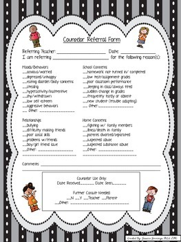 Counseling Referral from Faculty Member or Parent