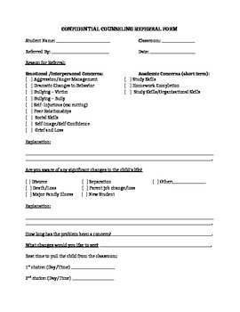 Counseling Services Referral Form