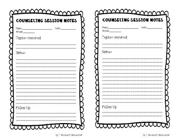 Counseling Session/Conversation Notes Template