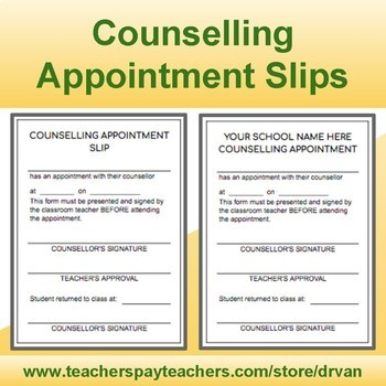 counselling appointment slips in pdf excel file format by drvan