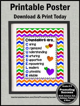Colorful Chevron School Counselor Office Decor, Printable Counselor Gift
