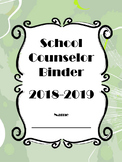 School Counselor Binder Set with Calendar - Green Floral Design (Editable)