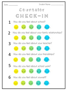 Counselor Check-In Worksheet