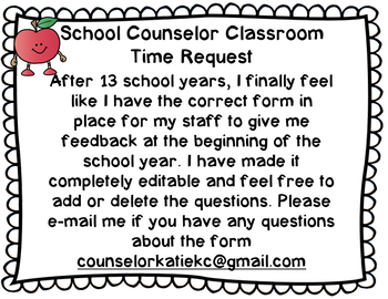 Counselor Classroom Request & Feedback Google Form